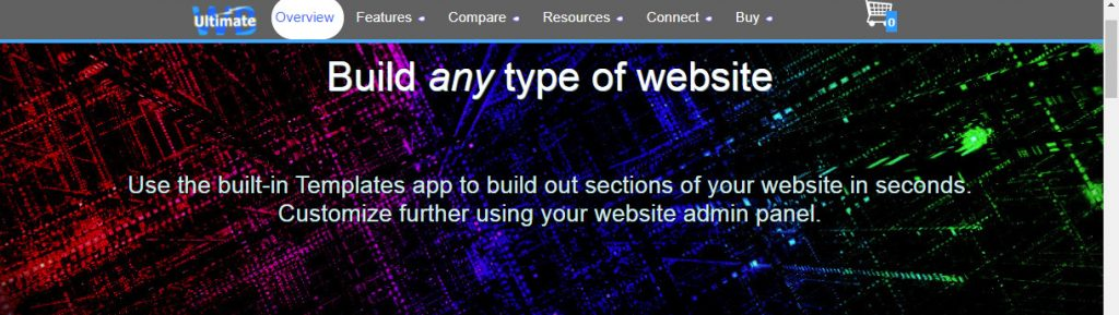 UltimateWB homepage, non-scrolling top menu bar