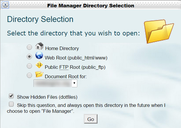 cPanel, File Manager, Show Hidden Files, .dot files