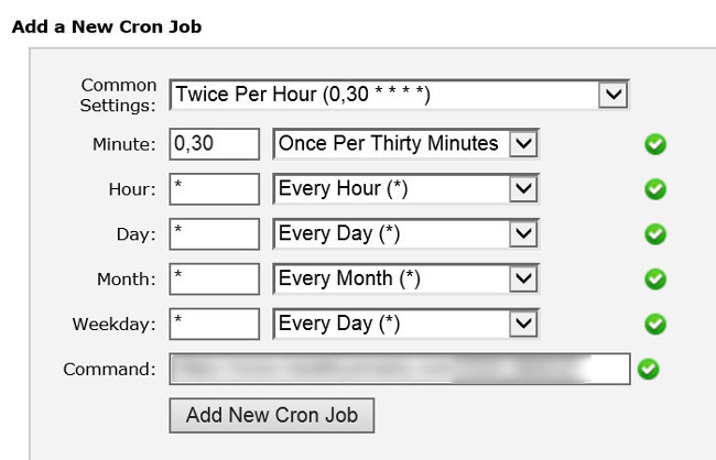 Cron Jobs, Automatic Scripts, Setup, web hosting control panel, cPanel