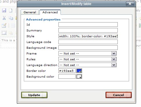Advanced Table Properties, Ultimate Web Builder software