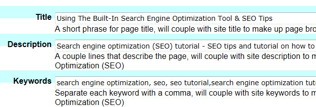 Page Search Engine Optimization Tool, Ultimate Web Builder software