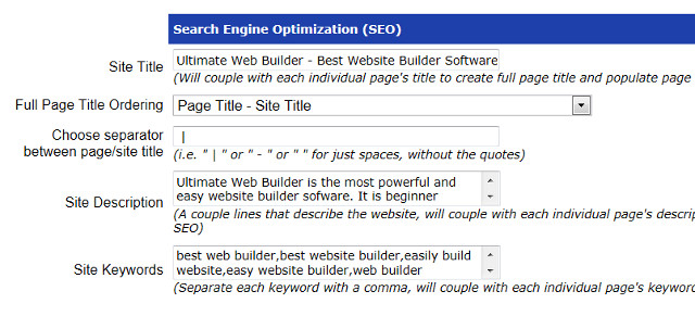 Search Engine Optimization Tool, Ultimate Web Builder software